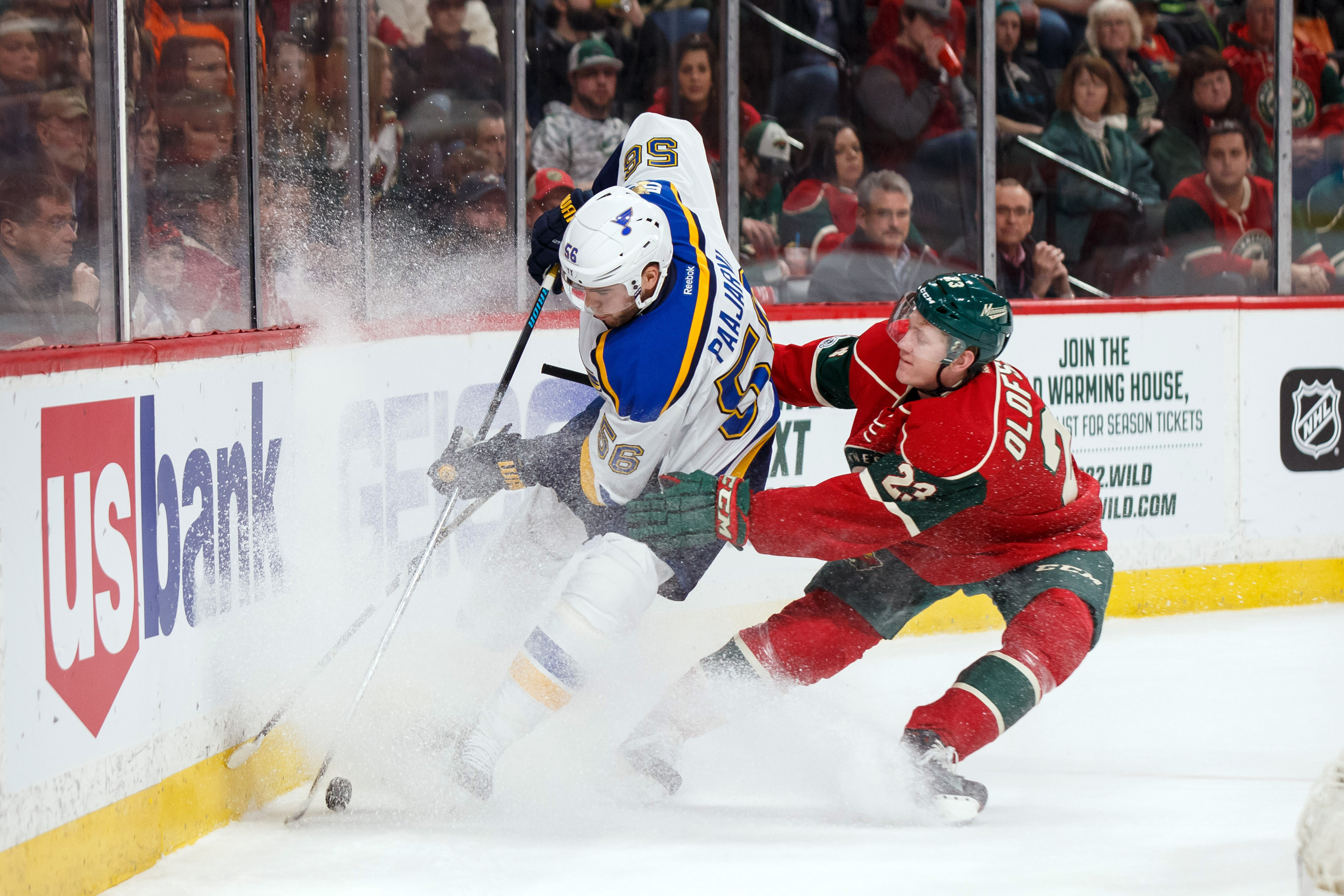 Nhl playoffs minnesota wild vs st louis blues prediction mar 7 2017 saint paul mn usa st louis blues forward magnus paajarvi 56 and minnesota wild defenseman gustav olofsson 23 skate after the puck and in publicscrutiny Choice Image